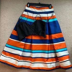 NICHOLAS Chic Stripe Skirt with Bralette